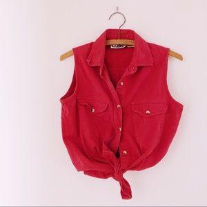 Vintage 90's pink denim sleeveless button up shirt